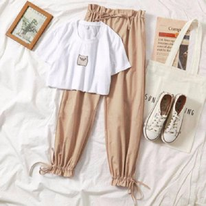 Two piece set summer clothes for women 2021 new dresy damskie fashion casual wide leg pants print t shirt 2 piece set women