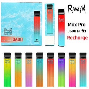 Original Randm Max Pro Dispositif de gousses jetables 3600 Puffs dessin animé Imprimation rechargeable 1100mAh Vape Pen 10ml Bar à barres de vapeur 100% authentique