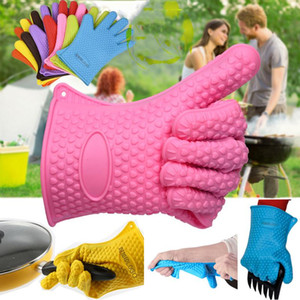 Силиконовая печь перчатка микроволновая перчатка высокотемпературная теплостойкая перчатка нескользящая печь Mitts барбекю гриль перчатки кухонный выпечки VT0528