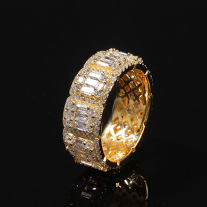 High Quality Iced out Diamond Ring Luxury Designer Jewelry Men Rings Fashion Super Bowl Hip Hop Bling Gold Wedding Engagement Love Bague De