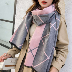 Korean version simple little fresh cotton women's shawl, winter girls versatile double-sided Plaid thickened warm scarf