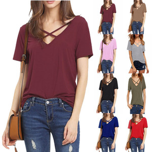 Sexy Backless Front Cross Col V-Col V T-shirts Femmes Tops Nouveau Sexy Loose Casual T-shirts à manches courtes T-shirts All-match Tees shirts