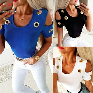 Fashion Women Summer Solid Color T-Shirts Hollow Out Design Corns Decor O-Neck Short Sleeve Slim Pullovers Top for Streetwear C0220