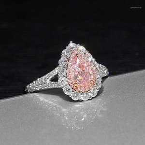 Genuine high quality Pink lovely Puls Drop shaped simulation Moissanite wedding engagement Woman's ring Free shipping JZ2491