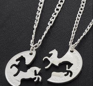 Horses Puzzle Coin Charm Animal Best Friend Couple Love Lovers Gifts Friendship Pendant Necklaces Women Men ps2823