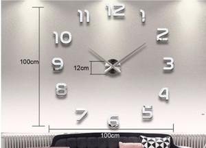 تزيين المنزل عدد كبير مرآة ساعة الحائط التصميم الحديث ساعة الحائط كبيرة 3d ووتش جدار هدايا فريدة من نوعها DHB5336