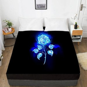 3D Bed Sheet with Elastic Fitted Sheet Double Mattress Cover 135 150 180 200 160x200 Luxury Rose Bedding for Wedding