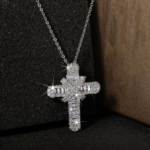 Diamonds Iced Out Cross Pendant Necklaces For Mens Womens Necklace Cuban Link Chains Hip Hop Jewelry