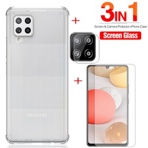 3in1 Transparent TPU Silicone Case For samsung galaxy 42 5g 2020 Tempered Glass on for samsung a42 a 42 Camera Protection Film