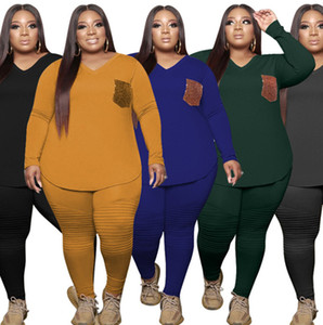 Plus size 3X 4X 5XL women outfits bigger size clothes fall winter track suits sweatshirt top+pants solid color two piece set sweatsuits 4519