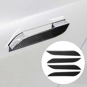 4PCS Carbon Fiber Sticker Car Door Handle Cover Trim Protector 3D Carbon stickers for Tesla Model S Car Exterior decoration