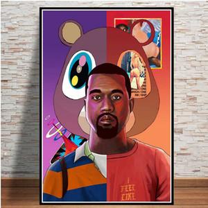 Плакат и отпечатки Kanye West Rapper Music Star Singer Альбом Коллаж Маслом Живопись искусства Фотографии на стене Фотографии для гостиной Home Decor C0228
