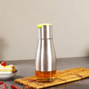 Oil Storage Can Bottle Home 350ml Soy Sauce Vinegar Seasoning Storage Can Glass Bottom Stainless Steel Body Kitchen Cooking Tools FWC6372