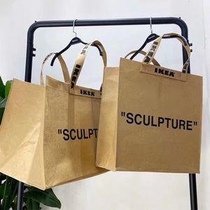 Commercio all'ingrosso Marke Joint Kraft Bag Sacchetto di carta Shooping Tote Bags Ow Shopping Bag Bag Ins Couple Street Borsa da trasporto Uomini e donne Borse Borse Borse
