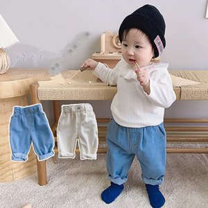 XZXY Korean Style INS Summer Baby Kids Little Boys Pants Jeans Spring Elastic Wasit Trousers Summer Unisex Children Girls Trousers