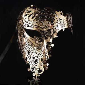 Negro Oro Cráneo Metal Mascarilla Halloween Rhinestone Media cara Venecia Masquerade Hombres Blanco Mujeres Skull Filigree Fiesta Máscara T200116