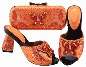 Hot sale orange women pumps and bag set with butterfly crystal decoration african shoes match handbag JZS-05,heel 9.5CM