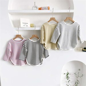 2021 Korean clothing spring boys and girls stripe T-shirt children's sweater medium length bottomed shirt