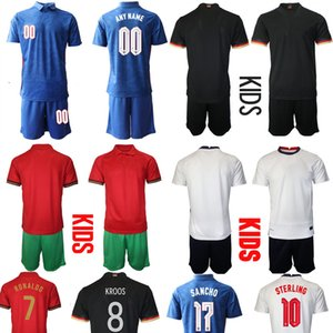 European Cup 2021 Kids Football Jersey Germany away England Home Uniforms Children's Athletic Portugal Soccer Kit Short Sleeve Apparel Infant Clothing Boys Girls