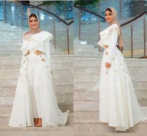 Muslim Arabic Prom Jumpsuit with Detachable Train High Neck Long Sleeve Lace Floral Ruffles Wrap Dubai Abaya Evening Pant Suit