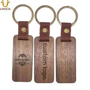 MOQ 50PCS Customized LOGO Leather Keychain with Wood Pendant Luggage Decoration Key Ring DIY Anniversary Souvenir Gifts