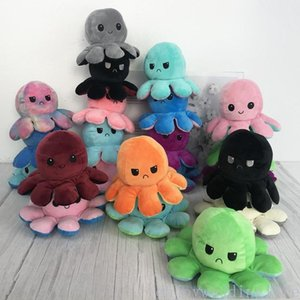 Creative Reversible Flip Octopus Doll Cute Mood Double-sided Stuffed Animals Pillow For Children Gift Baby Toy