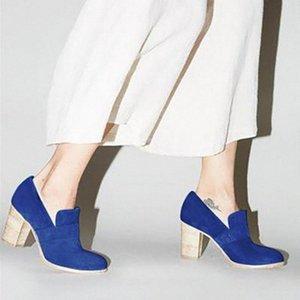 Monerffi Drop Shipping 2019 Yeni Bayan Tıknaz Yüksek Topuk Katı Renk Platformu Yuvarlak Ayak Vintage Kayma Ayak Bileği Çizmeler Ayakkabı Satılık Chea I5GC #