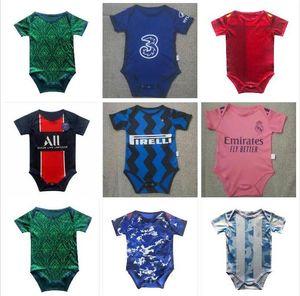 Baby Mbappe Soccer Jersey Man UTD 2020 2021 Bambina 6-18 Mesi Ballo per la squadra infantile Body 20 21 Vestiti striscianti Futbol