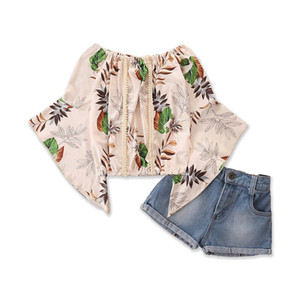 Kids Sets Girls Outfits Summer Sweet Floral Chiffon Flare Sleeve Tops Blouses Jeans Shorts 2Pcs Fashion Suits Kids Clothes 2-6Y B4144
