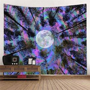 Floresta Moon Tapestry Psicodélico Bohemian Trippy Art Wall Pendurado Tapeçarias para Decoração Home Dorm L0311
