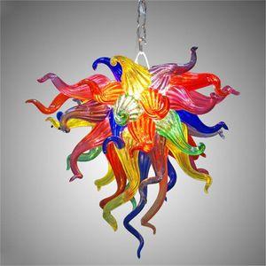 rainbow المرجان الشكل الثريات سلسلة قلادة ضوء معيشة h otel otel اليد في مهب الزجاج الثريا مصباح قبول التخصيص