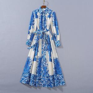 Milan Runway dresses 2021 Lapel Neck Long Sleeve Panelled Print High End Designer dress Brand Same Style Dress 0130-12