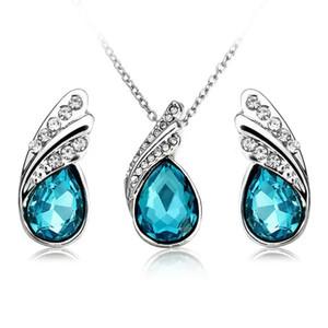 Crystal Water Drop Necklace Earrings Jewelry Set Lady Silver Plated Jewelry Gift-Dark Blue Pendant Beautiful Purple Earrings