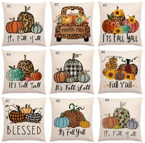Halloween Pumpkin Pillow Case Linen Printed Flower Truck Fall Throw Covers Seasonal Cushion Cases Decorative 18*18inch HWA8781
