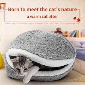 Removable Cat Sleeping Bag Sofas Mat Hamburger Dog House Short Plush Small Pet Bed Warm Puppy Kennel Nest Cushion Pet Supplies