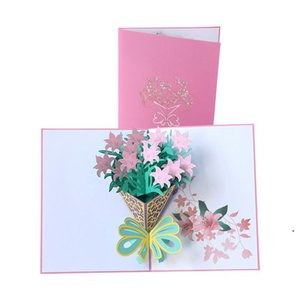 Mother's Day Card 3D Pop-Up Flowers Birthday Card Anniversary Gifts Postcard Mothers Father's Day Greeting Cards DHA3816