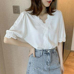 Summer Lace Blusas Blusas Folleita de las mujeres Camiseta con cuello en V Stitching Mangas de siete puntos Camisa de gasa Tops Tops de estilo coreano Polos