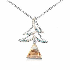 Wholesale Jewelry for Lady Fashion Christmas Tree Pendant Necklace Made with Swarovski Element Triangle Crystal Choker 1-1024 Free Shipping