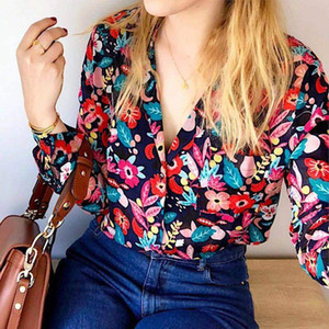 Women's Fashionable Floral Printed Low-top v Positano Shirt Button-down Mujer Fashion Shirts V6ve