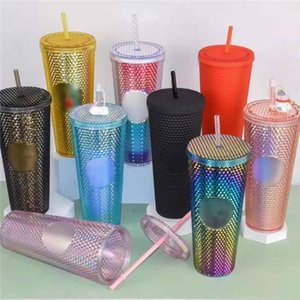 Vaso de bebida reutilizable del vaso de plástico 24oz / 710ml con taza de paja 10pcs DHL envío FY4488