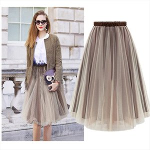 Free Tulle Midi Fasion Brown Womens Skirt Saias Femininas Formal Faldas