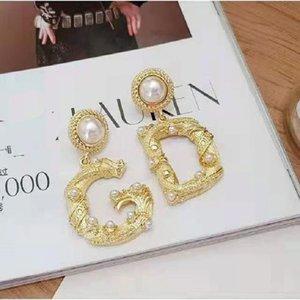 GD letter size Pearl Earrings Fashion atmosphere Earrings 925 silver needle net red earrings