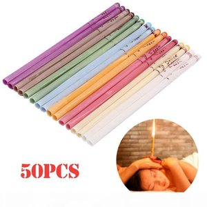 US STOCK 50Pcs set Ear Treatment Healthy Care Ear Candles Ear Wax Removal Cleaner Coning Treatment Indiana Therapy Fragrance Candling