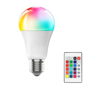 E27 RGB LED Light Bulb AC85-265V Smart Lighting Lamp Color Change Dimmable With IR Remote Controller 10W Smart Bulb In Stock