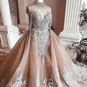 2021 Plus Size Arabic Aso Ebi Luxurious Crystals Mermaid Wedding Dresses Lace Beaded Bridal Dresses Illusion Sheer Neck Wedding Gowns ZJ205