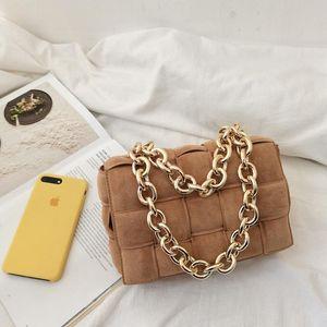 Luxurys Designer Taschen Mode Frauen Dicke Metallkette Frost Wildleder Kassette Gewebt Kreuz Körper Umhängetasche Kissenbeutel Tote Lady Kette Handtasche