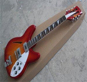 Loja personalizada Rick 12 cordas semi-oco 2 pickups guitarra vermelha de cereja com r cauda em estoque