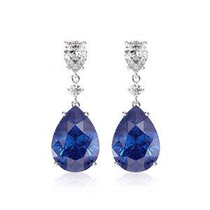 HBP Lujo Verano Nueva Moda Personalidad Coreana Exquisita Gota Agua Azul Zircon Pendientes Versátiles Feminidad