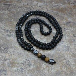 Mode 6mm Natural Pierre Perles Long Collier Hommes Black Lava Collier Bouddha Head Pendentifs Géométrie Bijoux Cadeau PQ-06