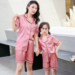 2021 New Nice Summer Set of Silk Pajamas for Mother and Daughter Sisters Combining Two Pieces Woman Fantasy Children Night Wear Clothes Z4z2